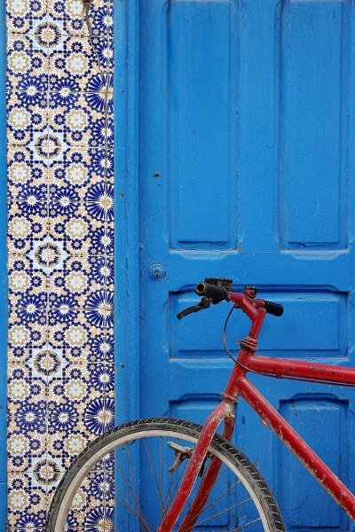 Red Bicycle, Blue Door by corfs