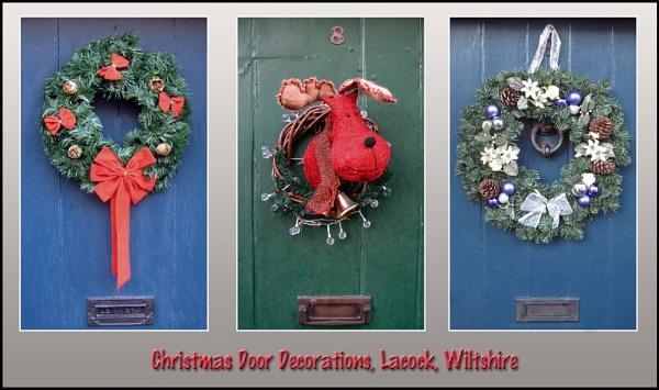 Christmas Door Decorations, Lacock, Wiltshire, UK by johnlong