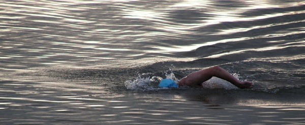 distance swimmer in West Kirby lake Wirral by johnbryan6
