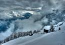 Clearing winter storm, Riederalp, Switzerland