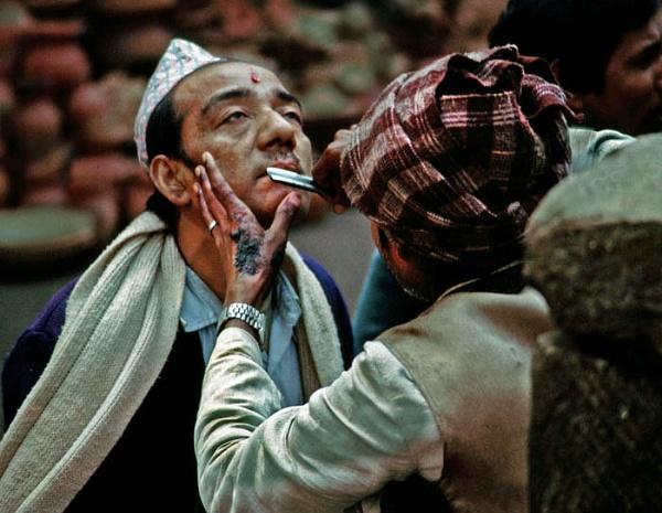 Shaving in Kathmandu by lonely_oryx