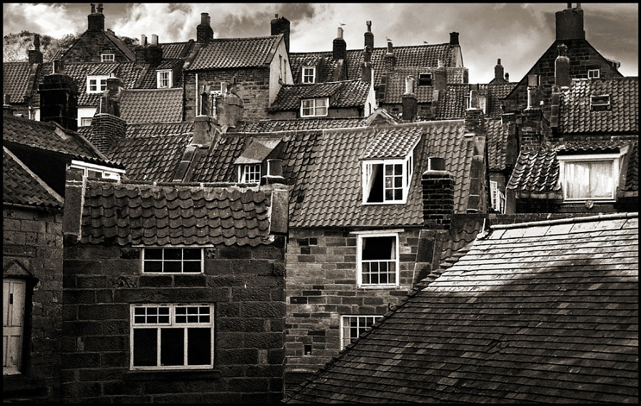 Whitby Roofscape-Mono.