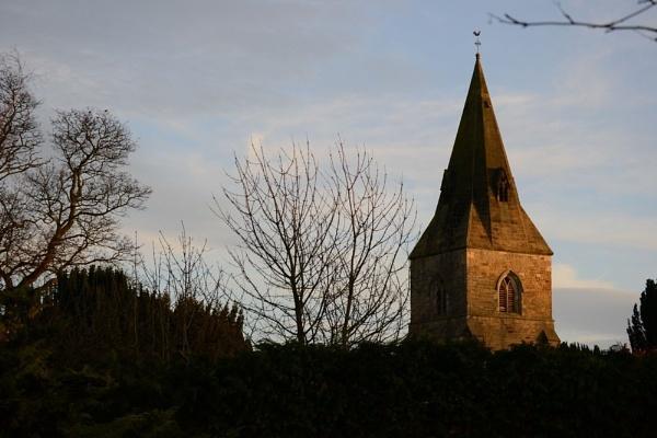 winter sunshine (Misterton Notts, church spire) by jimmymack