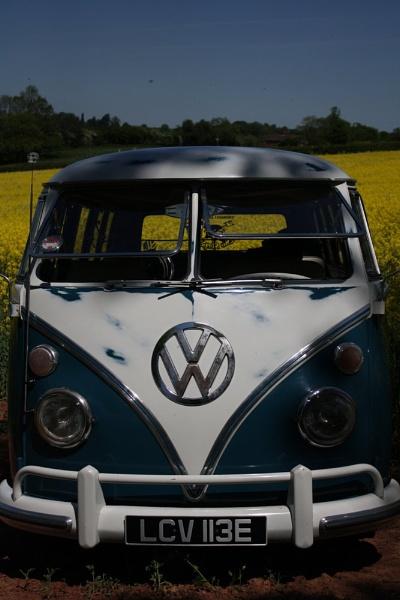 VW camper in a field of Oilseed rape. by Steve2rhino