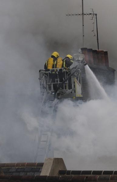 Firemen battle a building fire in London\'s Soho. by DarrenStarling