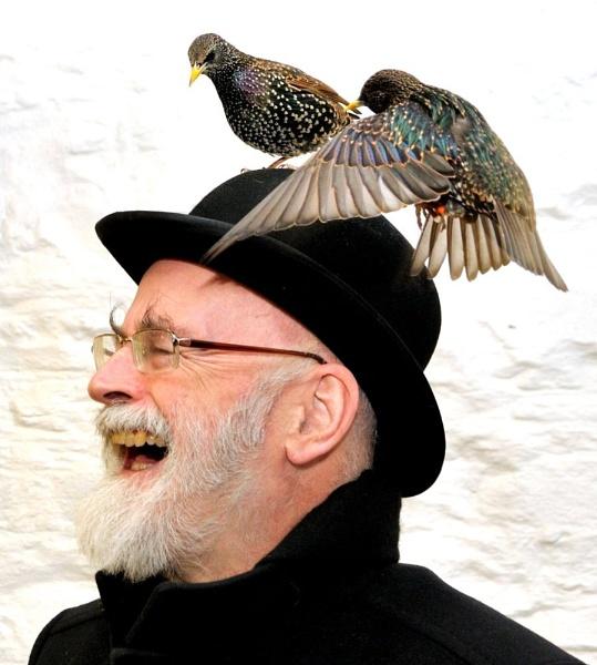 Sir Terry Pratchett attracts the Birds by isambard