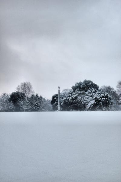 Syon Park Gardens London - Flora\'s Column Winter Snow 1 by samcabal