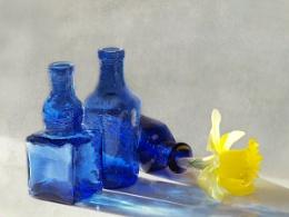 3 blue bottles
