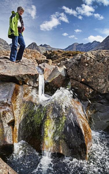A water shute at the Fairy Pools on Allt Coir a Mhadaidh in Gleann Bhreatail (Glen Brittle) by Sasanach