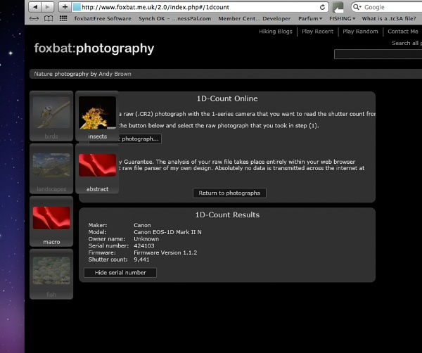 My 1D MkIIn Camera shutter activations by colin b