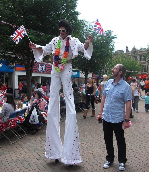 Elvis, alive and walking on stilts in Rotherham. by ChrisBilton