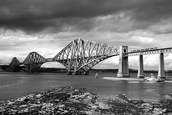 Forth Rail Bridge B&W by Adrianwalker