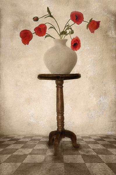 Poppies in Vase on that table again by abstracts