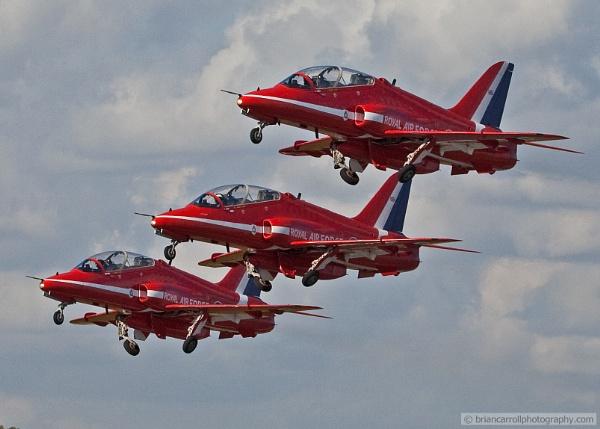 "RAF. BAe Hawks \""Red Arrows\"" Display Team at take off by brian17302"