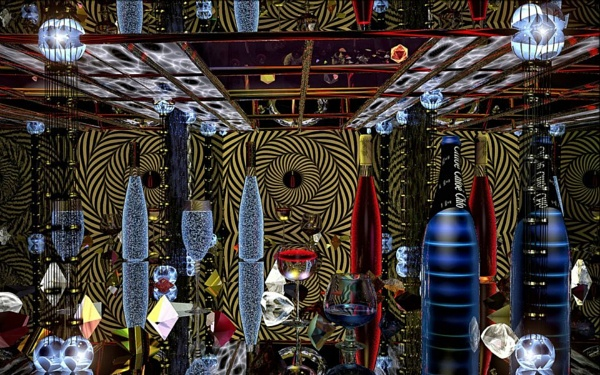 maze of mirrors with wine bottle wine glasses by paulmanneringphotos