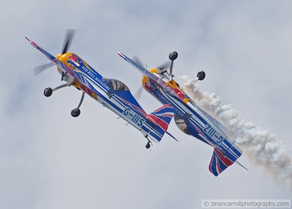 "\""Red Bull Matadors\"" Display Team flying Russian Sukhoi SU-26M2 Aerobatic planes by brian17302"