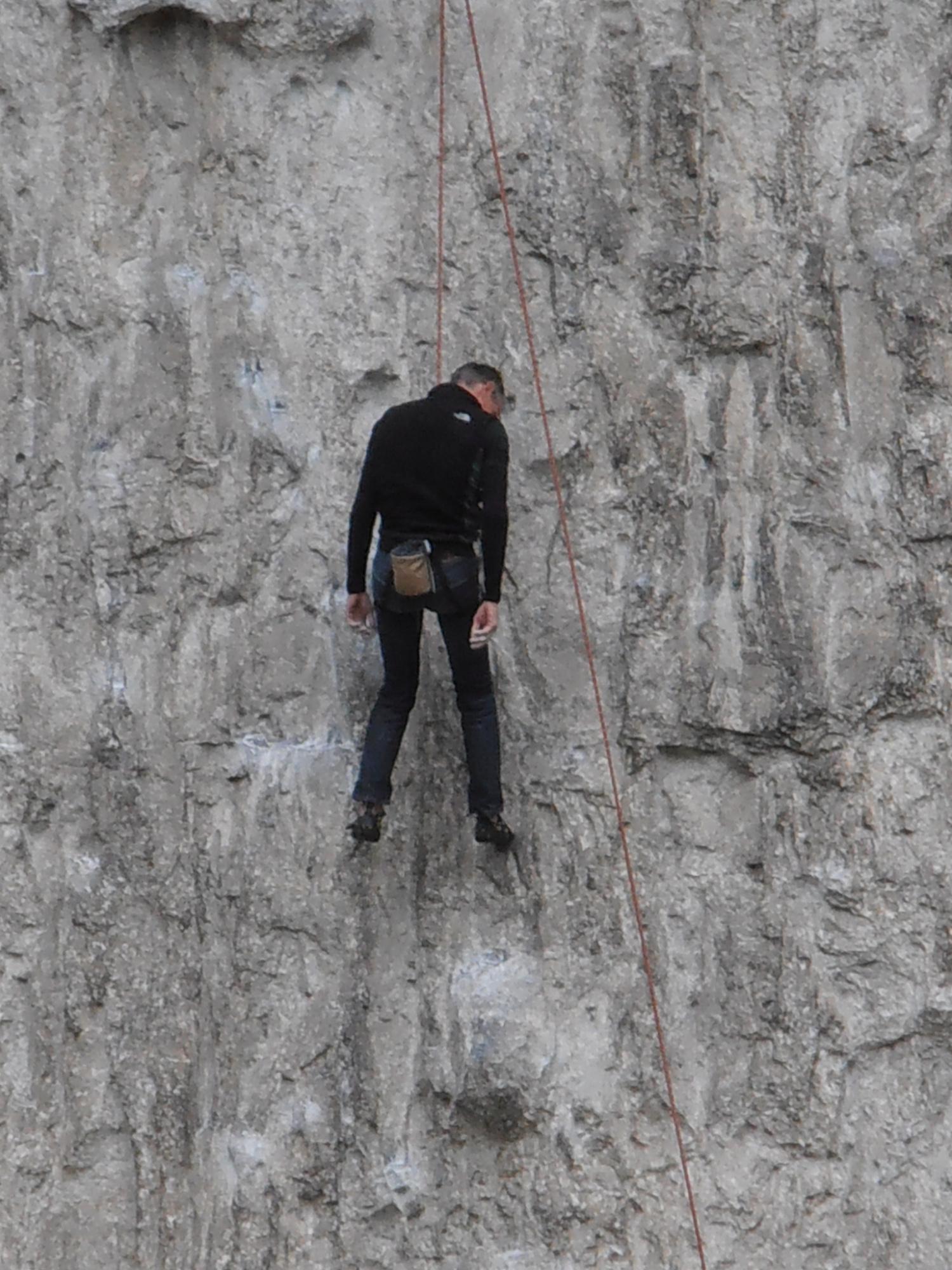 climber takes a break