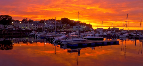 Sunset over Ballycastle Marina