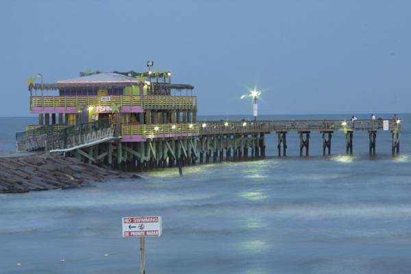 61st Street Fishing Pier Galveston Island Texas at dusk by kaoskode