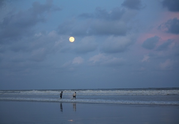 Blue Moon, Sea and two friends. by PradyothChakraborty