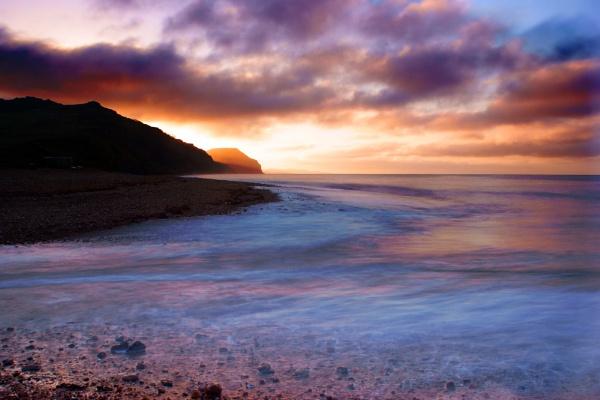 sunrise over golden cap