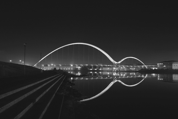 Infinity Bridge across the river Tees at night by stantheman