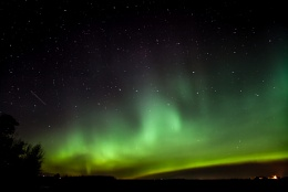 Northern lights and shooting stars.