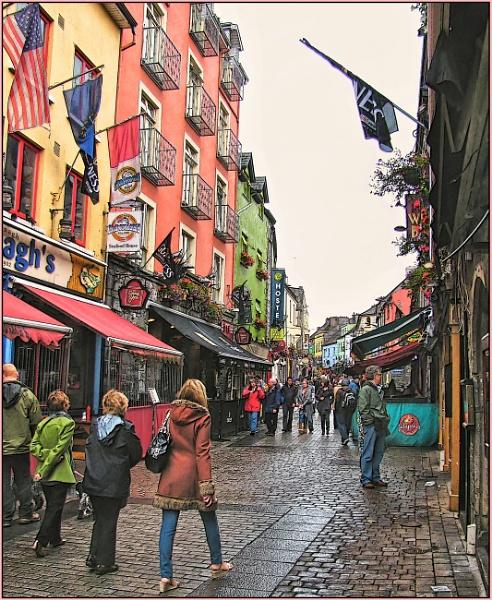Busy Galway Street by Jocelia