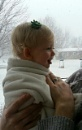 Snow kissing, my granddaughters first snow beautiful Claire