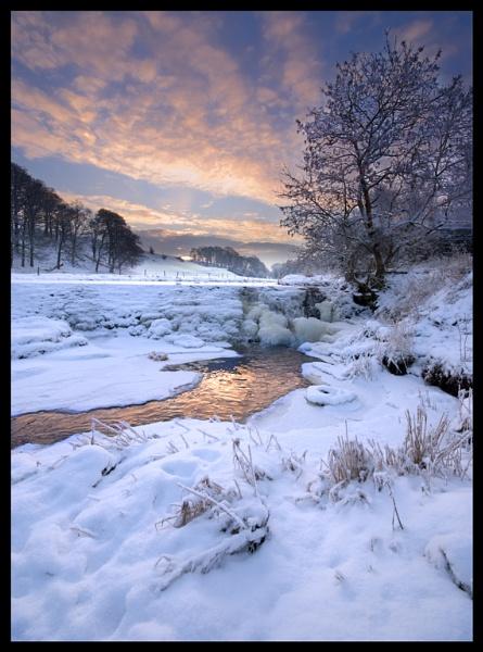 Sunrise Over Frozen Weir by Nothern_Licht