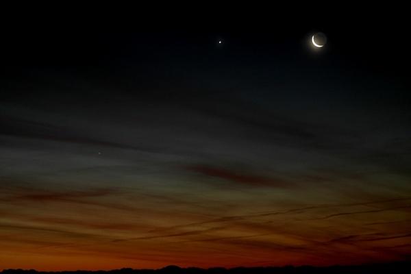 Mercury,Venus and the Moon 11/12/12 by warbstowcross