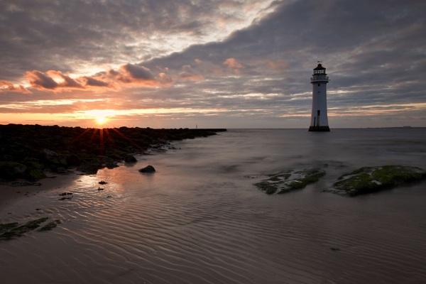 "\""Sun Setting at Fort Perch Rock Lighthouse\"" by razorraymac"