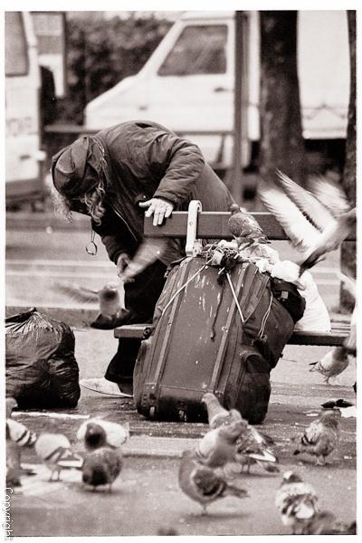 Homeless woman in Paris by blastedkane