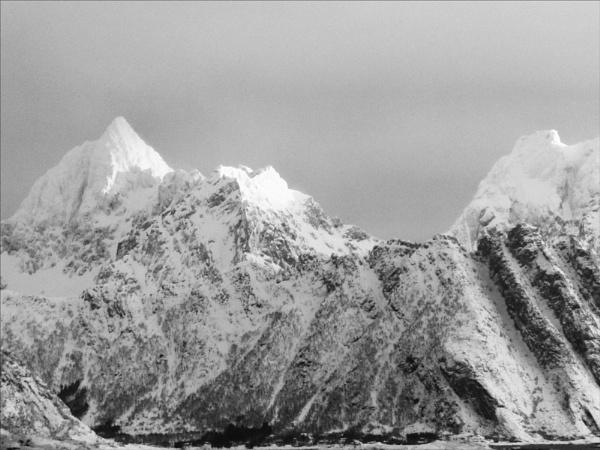 Lofoten Islands, snowy peaks by maggietear