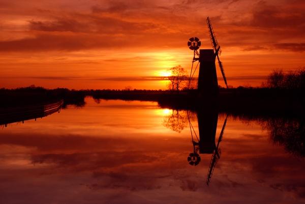 Turf Fen mill sunset by 1stdan