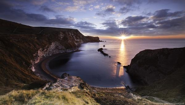 Sunrise at Man of War Bay, Dorset by awhyu