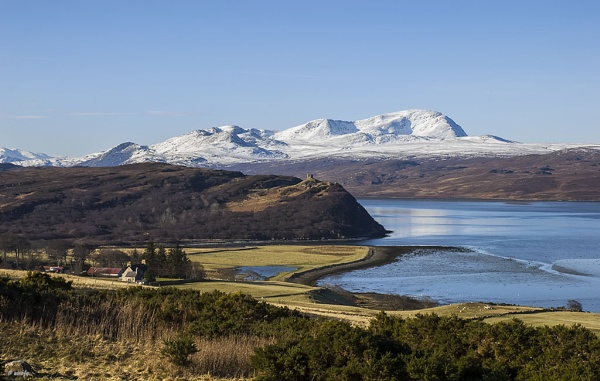 Ben Hope in snow across Kyle of Tongue - Sutherland by nirofo