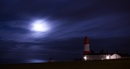 Souter Lighthouse and cloud coverd moon