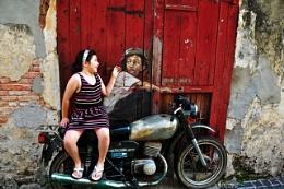 little girl on the motorbike