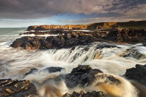 Dunseverick Sea Waterfall