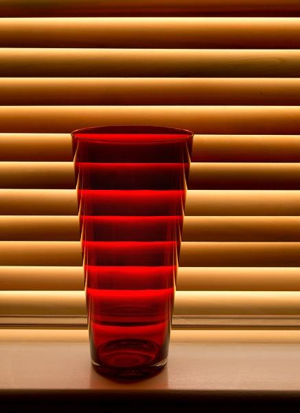 Red Glass Vase by SandraKay