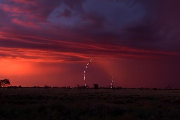 Karoo Thunderstorm at sunset by Msalicat