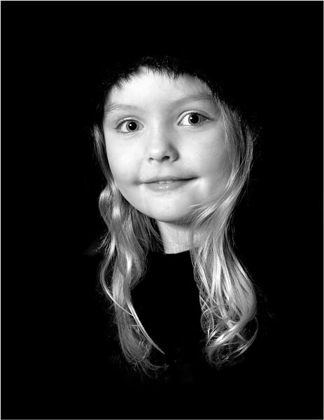 Blonde Girl, Black Fur Hood by johnp