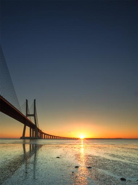 Vasco De Gamma Bridge Sunrise by BrainResin
