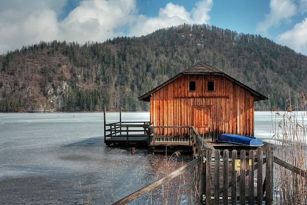 Frozen Boathouse by headskiesfly