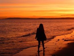 Walking into sunset