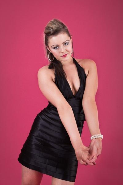 Carlene in a black dress by JackAllTog