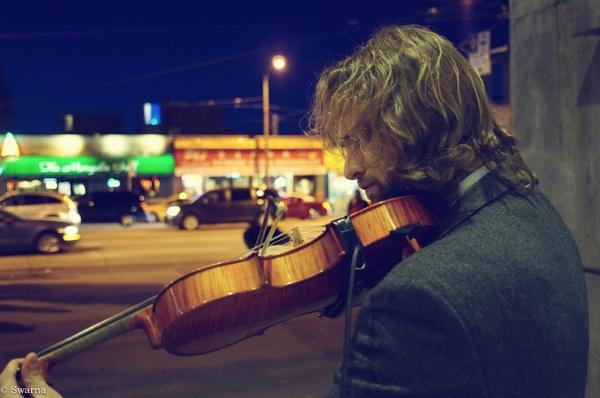 Violin Man - Broadway at Night IV by Swarnadip
