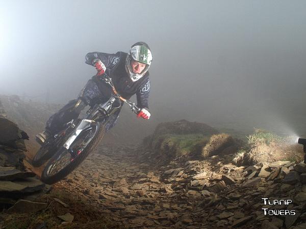 Mountain biker in the fog by turniptowers