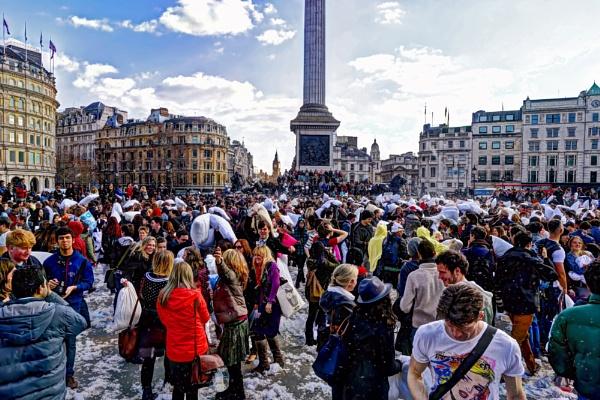 London Pillow Fight 2013 in Trafalgar Square by Anatoleya